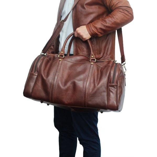 Borsone uomo da viaggio marrone bagaglio a mano in pelle borsone artigianale fatto a mano
