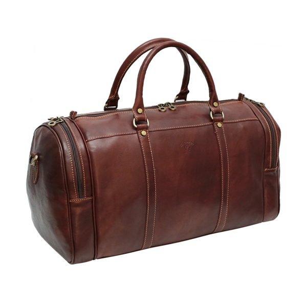 Borsone viaggio pelle firenze marrone tasche laterali bagaglio a mano in pelle cuoio toscano Giglio Firenze