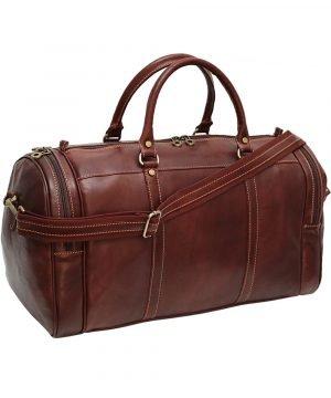 Borsone viaggio pelle firenze marrone tasche laterali bagaglio a mano in pelle tracolla in pelle