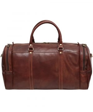 Borsone viaggio pelle firenze marrone tasche laterali bagaglio a mano in pelle Made in Italy