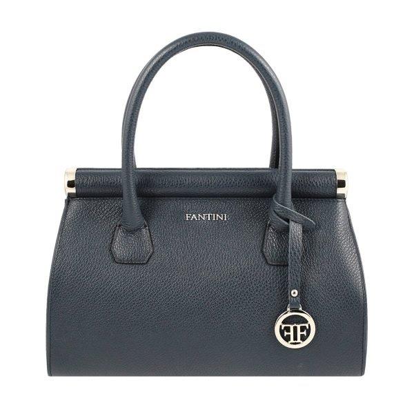 Borsa donna blu scuro Fantini Made in Italy vera pelle borsa a mano in pelle Fantini
