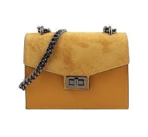 Borsa a tracolla donna gialla piccola con catena vera pelle Made in Italy elegante