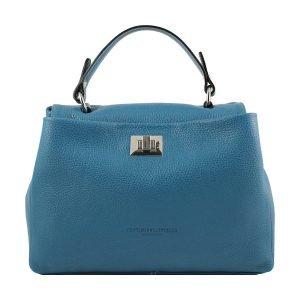 Borsa donna Fantini Pelletteria in pelle azzurra chiusura sicura manico in pelle made in italy