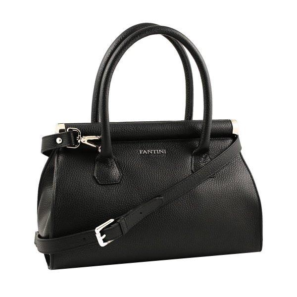 Borsa donna nera Fantini borsa a mano in pelle con tracolla regolabile in pelle made in italy borse artigianali italiane