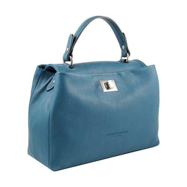 Borsa azzurra artigianale donna in pelle Fantini Pelletteria chiusura sicura manico in pelle made in italy