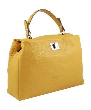 Borsa gialla artigianale donna in pelle Fantini Pelletteria chiusura sicura manico in pelle made in italy