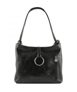Borsa donna nera pelle cuoio toscano borsa artigianale borsa made in italy giglio fiorentino