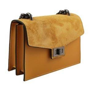 Borsa a tracolla donna due scomparti gialla piccola con catena vera pelle Made in Italy