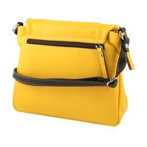 Retro borsa a tracolla gialla in pelle donna Made in Italy borse in pelle jenny cerniera esterna