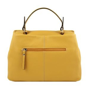 Retro borsa donna Fantini Pelletteria in pelle gialla manico comodo cerniera esterna Made in Italy