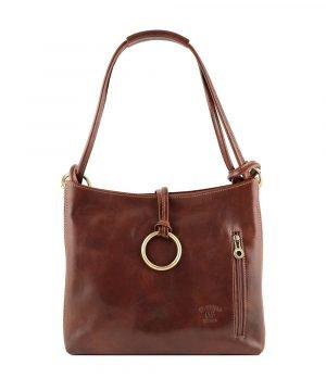 Borsa donna marrone pelle cuoio toscano giglio borsa artigianale vero cuoio made in italy