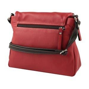 Retro borsa a tracolla rossa in pelle donna Made in Italy cerniera esterna