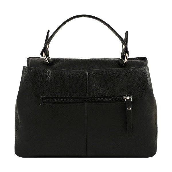 Retro borsa donna Fantini Pelletteria in pelle nera manico comodo cerniera esterna Made in Italy