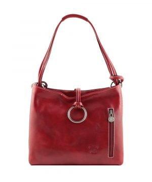 Borsa donna rossa pelle cuoio toscano giglio fiorentino borsa artigianale firenze made in italy