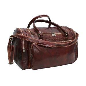 Borsone da viaggio cerniere esterne vera pelle cuoio toscano tracolla in pelle regolabile borsone a spalla fatto a mano borsone artigianale tasche esterne cerniere metalliche