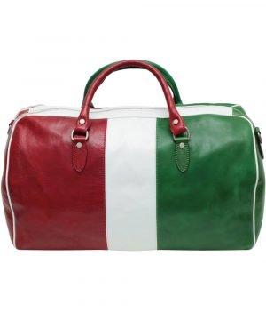 Borsone da viaggio tricolore vero cuoio bagaglio a mano in pelle naturale bandiera italiana made in italy cuoio firenze borsone bowling chiusura cerniera