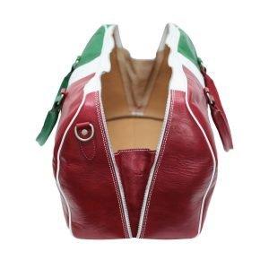 Compartimenti interni borsone bandiera italia in pelle da viaggio bagaglio a mano in pelle borsa palestra cuoio Made in Italy rosso bianco verde