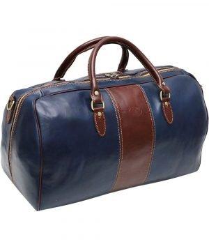 Borsone da viaggio colorato blu marrone vero cuoio bagaglio a mano in pelle naturale tracolla in pelle regolabile made in italy cuoio firenze