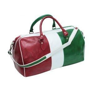 Borsone da viaggio tricolore vero cuoio bagaglio a mano in pelle naturale bandiera italiana tracolla in pelle regolabile made in italy cuoio firenze
