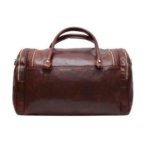 Retro borsone da viaggio cerniere esterne vera pelle cuoio toscano borsone artigianale tasche esterne cerniere metalliche