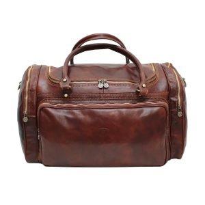 Borsone da viaggio cerniere esterne vera pelle cuoio toscano borsone artigianale tasche esterne borsa da viaggio made in italy