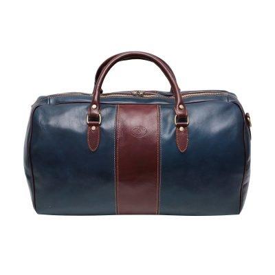 Borsone da viaggio colorato blu marrone vero cuoio bagaglio a mano in pelle naturale made in italy cuoio firenze borsone bowling chiusura cerniera