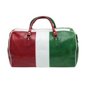 Borsone da viaggio tricolore vero cuoio bagaglio a mano in pelle naturale bandiera italiana made in italy cuoio firenze chiusura cerniera