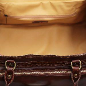 Compartimenti interni borsone in pelle da viaggio bagaglio a mano in pelle borsa palestra cuoio Made in Italy cerniera interna