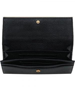 Compartimenti portafoglio donna pelle nero portacarte portatessere donna made in italy chiusura bottone