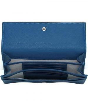 Compartimenti portafoglio donna pelle artigianale azzurro portacarte portatessere donna made in italy chiusura bottone