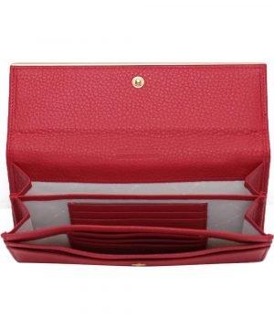 Compartimenti portafoglio donna pelle rosso portacarte portatessere donna made in italy chiusura con bottone