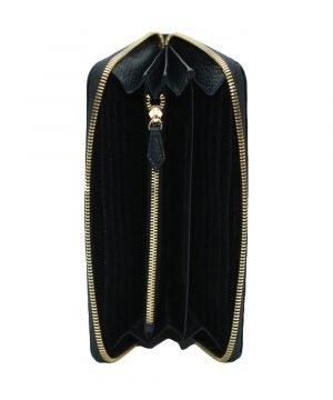 Compartimenti portafoglio donna Fantini chiusura cerniera vera pelle made in italy colore nero portamonete interno cerniera portafoglio artigianale