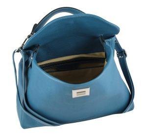 Borsa donna aperta azzurra in pelle Fantini Pelletteria apertura sicura tracolla in pelle regolabile Made in Italy