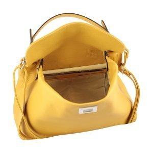 Borsa donna aperta gialla in pelle Fantini Pelletteria apertura sicura tracolla in pelle regolabile Made in Italy