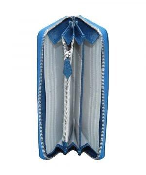 Compartimenti portafoglio donna Fantini chiusura cerniera vera pelle made in italy colore azzurro portamonete interno cerniera
