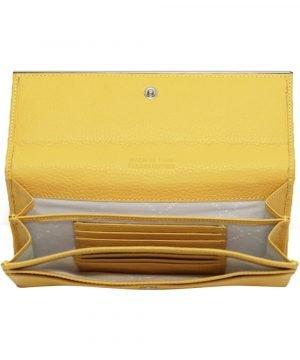 Compartimenti portafoglio donna pelle giallo portacarte portatessere donna made in italy chiusura bottone portafoglio donna