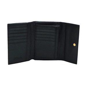 Compartimenti portafoglio donna nero vera pelle Made in Italy portafoglio fatto a mano
