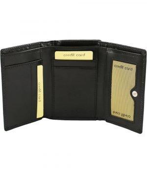 Portafoglio donna nero in pelle artigianale fatto a mano vero cuoio firenze portamonete esterno chiusura clip
