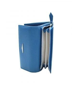 Portafoglio Fantini donna portamonete cerniera argento vera pelle Made in Italy portafoglio azzurro