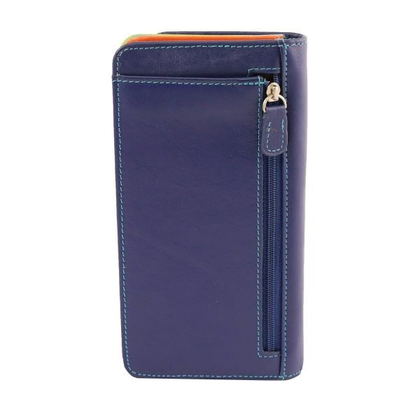 Retro portafoglio pelle donna blu cerniera portamonete