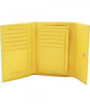 Compartimenti portafoglio donna giallo vera pelle Made in Italy
