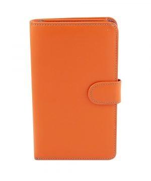 Portafoglio donna pelle arancione chiusura bottone vera pelle morbida