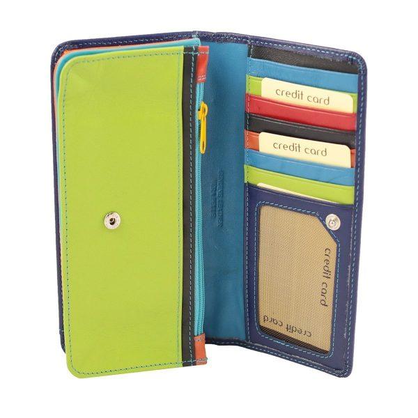 Interno Portafoglio multicolore donna pelle chiusura bottone vera pelle morbida portafoglio firenze carte di credito portamonete