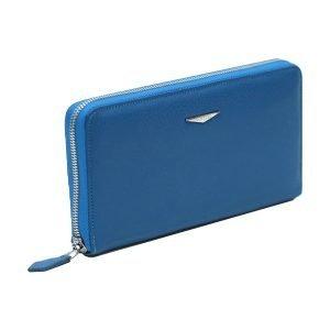 Portafoglio Fantini pelle donna azzurro cerniera esterna made in italy portafoglio Fantini