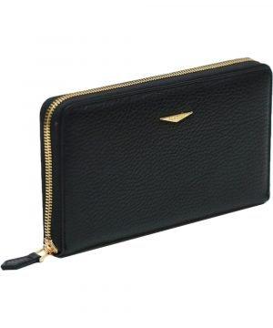 Portafoglio Fantini donna nero cerniera esterna made in italy portafoglio Fantini