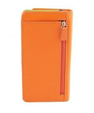 Retro portafoglio pelle donna arancione cerniera portamonete