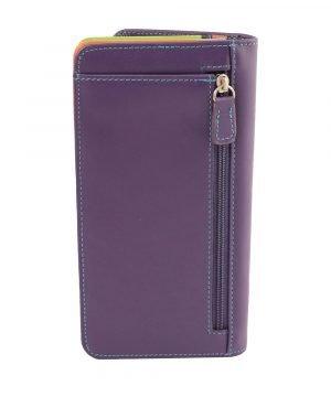 Retro portafoglio pelle donna viola cerniera portamonete
