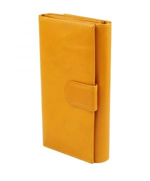 Portafoglio pelle donna giallo grande chiusura con bottone vera pelle Firenze