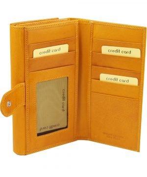 Portafoglio donna giallo pelle interno carte di credito e portamonete vera pelle cuoio