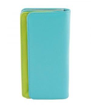 Portafoglio multicolore donna azzurro in pelle chiusura bottone vera pelle morbida